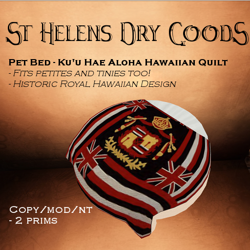 Sculpted prims in Second Life: Round pet bed with Hawaiian quilt design