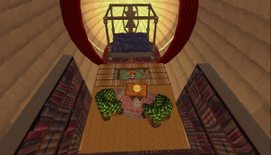 Complete with bedroom and library!